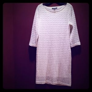 Great Ivory Lace Dress With 3/4 Sleeve